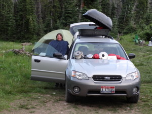 "When car camping, your drying rack is always with you. Near Harts Pass, Cascades, WA (48 41'54.18"" N 120 38'13.25"" W)."