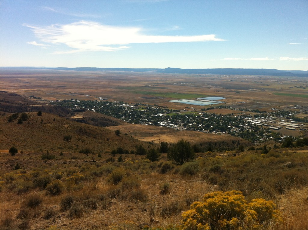The view of Lakeview, Oregon from the cell phone towers above town.