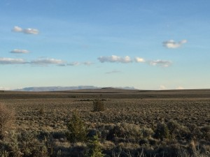This is the view from camp toward evening. In the distance is Hart Mountain. Probably fewer than 50 humans live between the camera and the mountains in the distance. The sagebrush steppe shown here is typical.